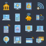 Mobile banking icons set with electronic devices and finance services applications isolated vector illustration